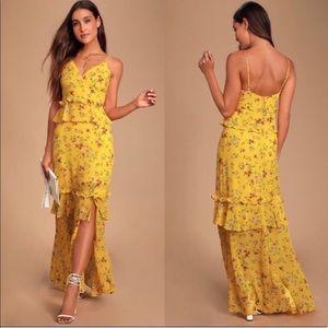 LULUS Sunshine Bouquet Yellow Floral Maxi …